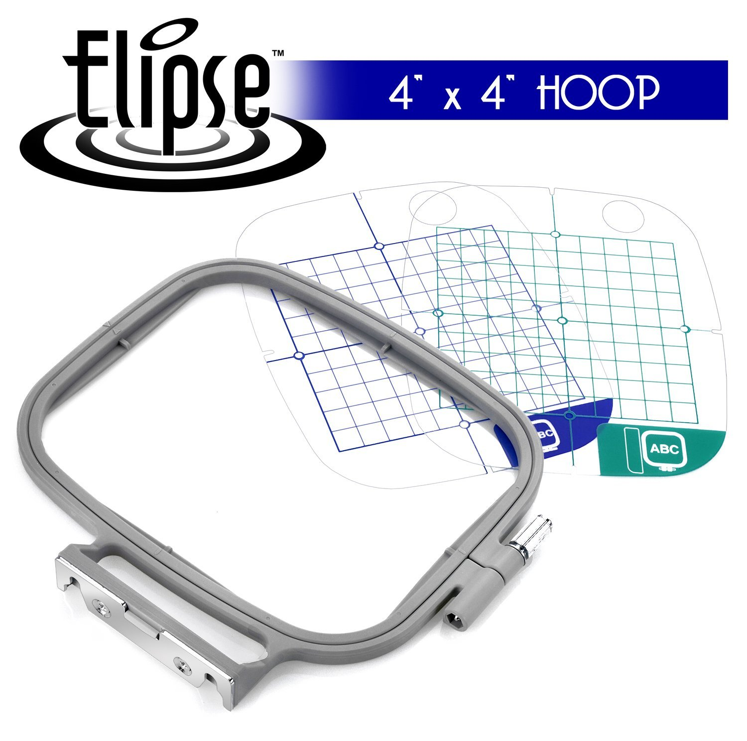 Elipse 4-inch x 4-inch Embroidery Hoop w/ Placement Grids for Brother Embroidery Machines