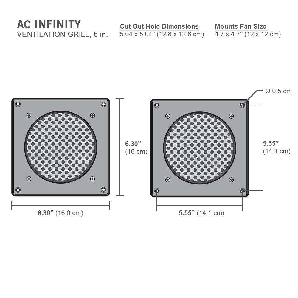 for PC Computer AV Electronic Cabinets AC Infinity Ventilation Grille Also mounts Two 120mm Fans