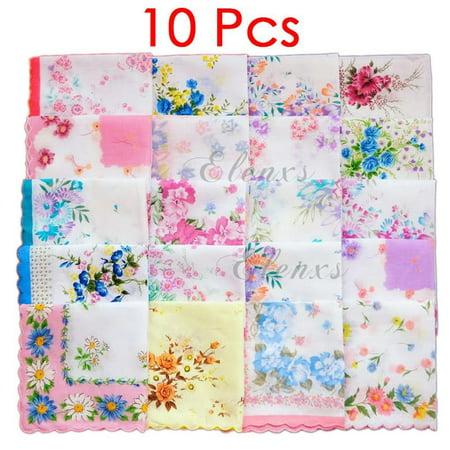 Women's Girls Handkerchiefs Vintage Floral Print Cotton Blossom Flower 30x30cm Hand Towel