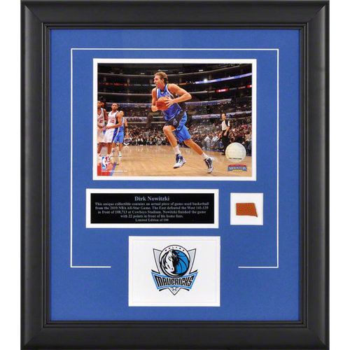 NBA - Dirk Nowitzki Dallas Mavericks Framed 8x10 Photograph with Game Used 2010 All Star Game Basketball Piece and Descriptive Plate