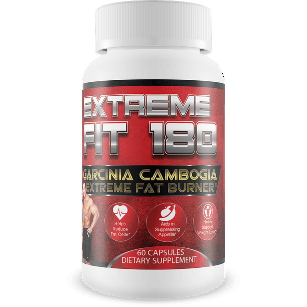 Extreme Fit 180 - Garcinia Cambogia Extreme Fat Burner-60% HCA, Pure Garcinia Cambogia Extract - Extra Strength - Carb Blocker & Appetite Suppressant - All Natural Diet Pills for Women & Men