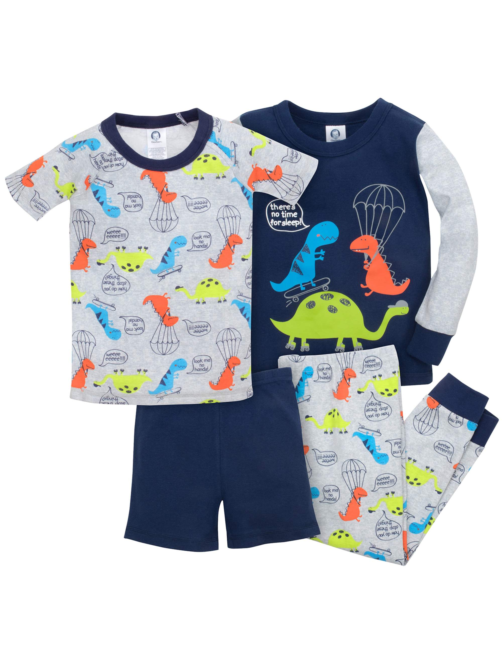 Baby Toddler Boy Mix 'n Match Snug Fit Cotton Pajamas, 4pc Outfit Set