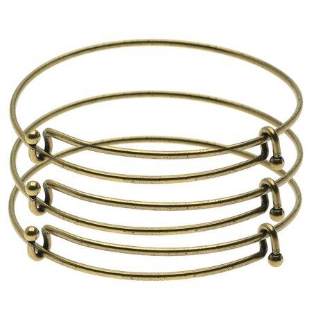 - Expandable Charm Bangle Bracelets, Double Bar, 3 Bracelets, Antiqued Brass
