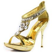 Celeste May-16 Gold Jeweled Rhinestone Evening Shoes, Gold, 5.5 B(M) US