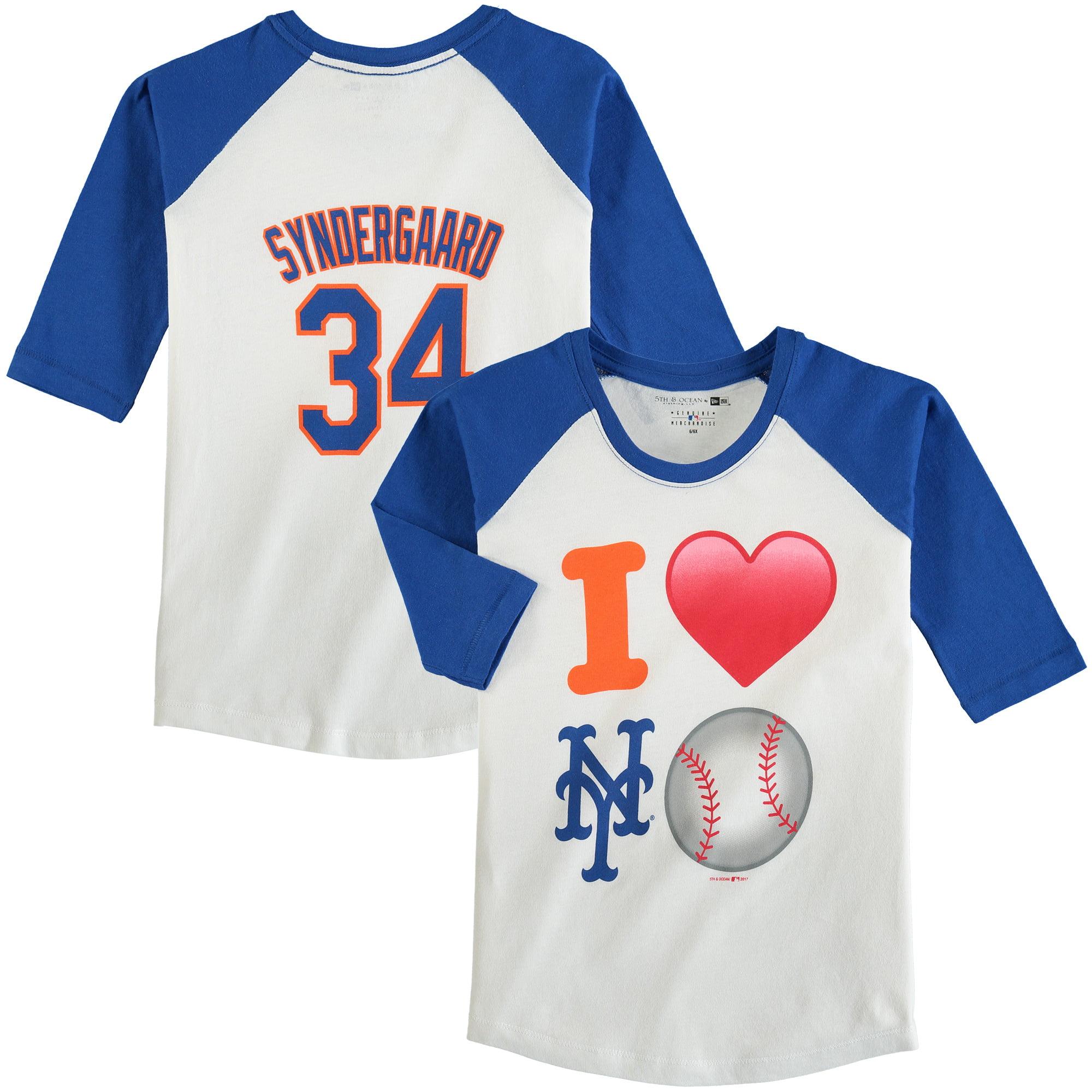 Noah Syndergaard New York Mets 5th & Ocean by New Era Girls Youth Emoji Love Player Name & Number 3/4-Sleeve Raglan T-Shirt - White/Royal
