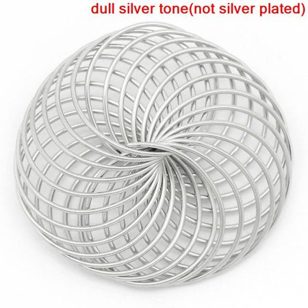 Sexy Sparkles 5 Pcs Mesh Spacer Hollow Bead Round Antique Silver 35mm Dia, Hole: Approx 16.5mm