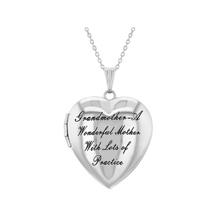 Heart Shaped Scrolled Locket (Heart Shaped Photo Locket Grandmother Granddaughter Love Pendant Necklace)