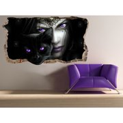Startonight 3D Mural Wall Art Photo Decor Purple Eyes Amazing Dual View Surprise Wall Mural Wallpaper for Bedroom Women Wall Paper Art Gift Large 47.24 '' By 86.61 ''