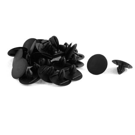 30 Pcs Black Plastic Car Trim Clip Fastener 9mm Hole Bumpers Grills Side Skirts