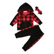 Toddler Baby Girl Winter Clothes Plaid Zipper Coat Tops+Long Pants Outfits 3PCS