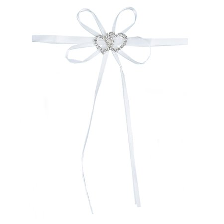 BalsaCircle 4 pcs White Mini Bows with Silver Rhinestone Double Heart - Wedding Favors Birthday Baby Shower Party Candles Decoration Birthday Candle Favors