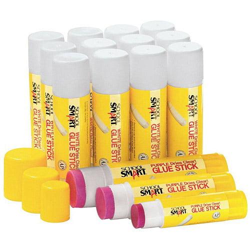 School Smart Non Toxic Washable Glue Sticks, 1.25 oz, 12-Pack