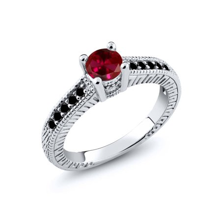 0.77 Ct Round Red Created Ruby Black Diamond 925 Sterling Silver Engagement Ring