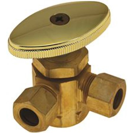 Angle Stop Valve - DURAPRO 3-WAY DUAL ANGLE STOP VALVE, 5/8 IN. COMP X 3/8 IN. OD X 3/8 IN. OD, ROUGH BRASS, LEAD FREE