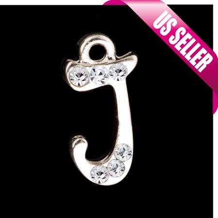 Rhinestone Letter Charms (Alphabet Charms, Silver Plated Clear Czech Rhinestone Letter J 19x9.4mm pack Of)