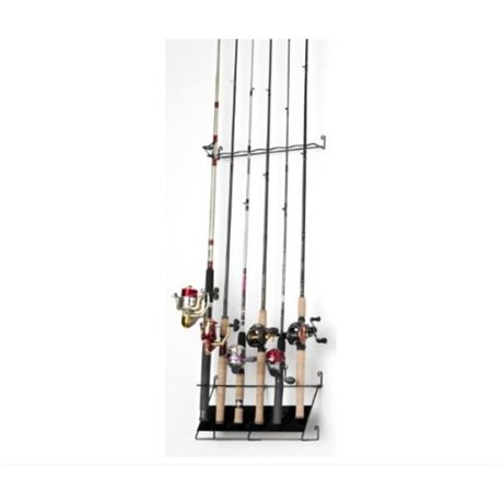 Rackem racks 7010 vertical 6 rod fishing rod rack economy for Walmart fishing pole holder