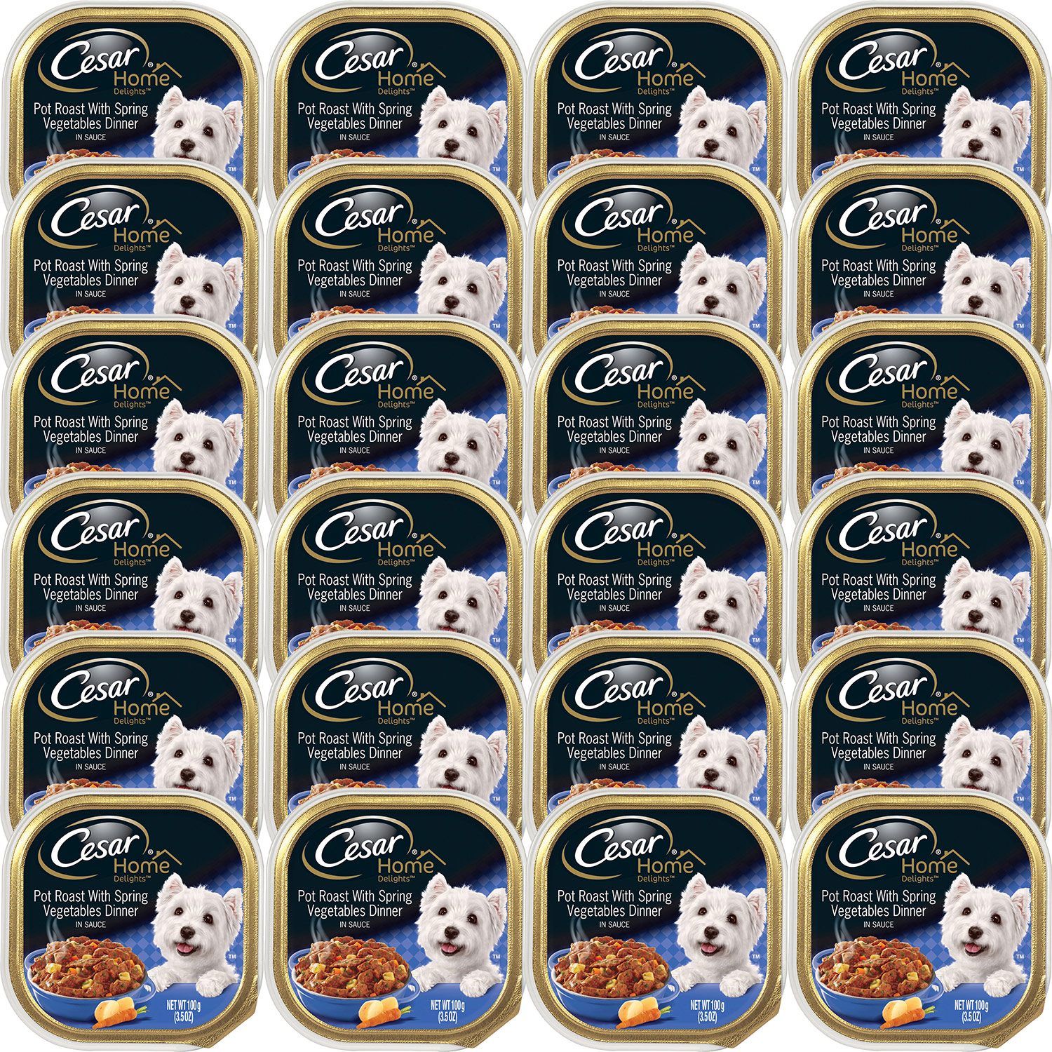 (24 Pack) CESAR HOME DELIGHTS Wet Dog Food Pot Roast with Spring Vegetables Dinner, 3.5 oz. Tray