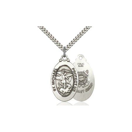 Large Detailed Mens 925 Sterling Silver Saint St  Michael Coast Guard Medal Pendant 1 1 8 X 5 8  Police Law Officers Emts On A 24 Stainless Curb Chain Necklace Gift Boxed