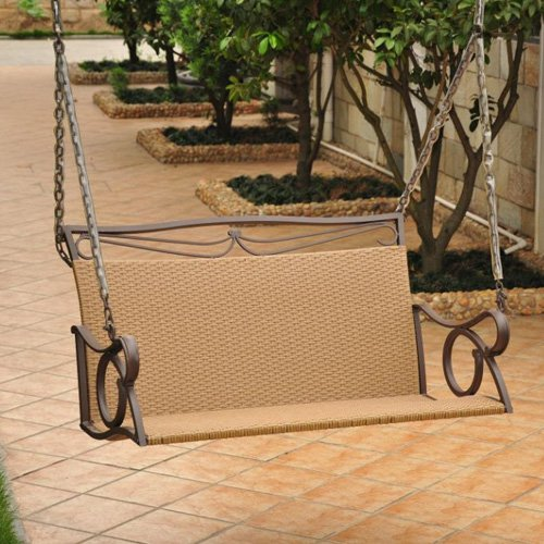 International Caravan Valencia Resin Wicker 4 ft. Metal Frame Hanging Loveseat Swing by Intl. Caravan/Golden Needle