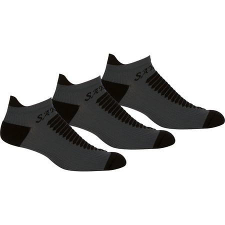 Sakkas Mens Best Pro Low Heavyweight Compression Ankle Performance Socks - 3 Pack - Black / Grey -