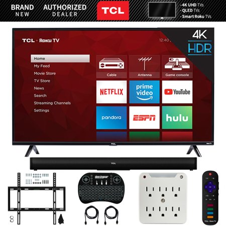 TCL 55S425 55-inch 4-series 4K UHD Roku Smart TV (2019) Bundle with TCL Alto 5 TS5000 2.0 Channel Sound Bar, Wireless Keyboard, Deco Mount Wall Mount Kit and 6-Outlet Surge Adapter with Night (Best Usb Wifi Adapter 2019)
