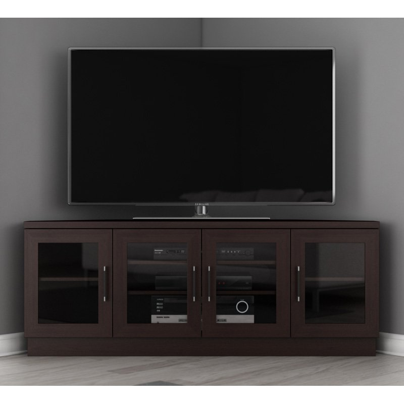 Furnitech 60 in. Contemporary TV Entertainment Corner Console - Wenge