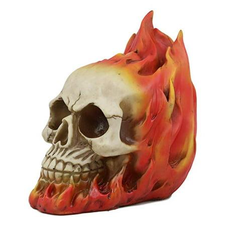 Halloween Graveyard Desserts (Ebros Gift Flaming Fire Hot Rod Skull Statue Hell Inferno Burning Skulls Biker Ossuary Graveyard Spooky Halloween Themed Decor Day of The Dead DOD Skeleton Skeletons Macabre)