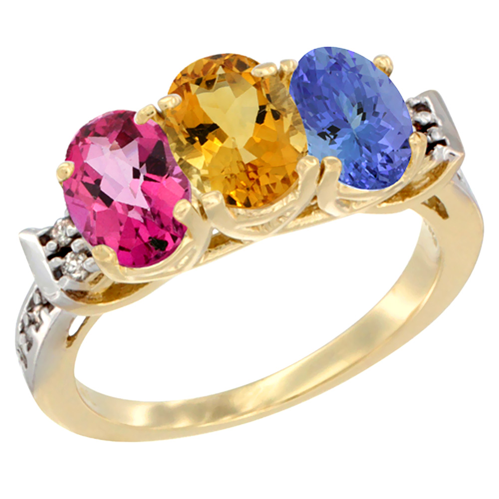 10K Yellow Gold Natural Pink Topaz, Citrine & Tanzanite Ring 3-Stone Oval 7x5 mm Diamond Accent, sizes 5 10 by WorldJewels