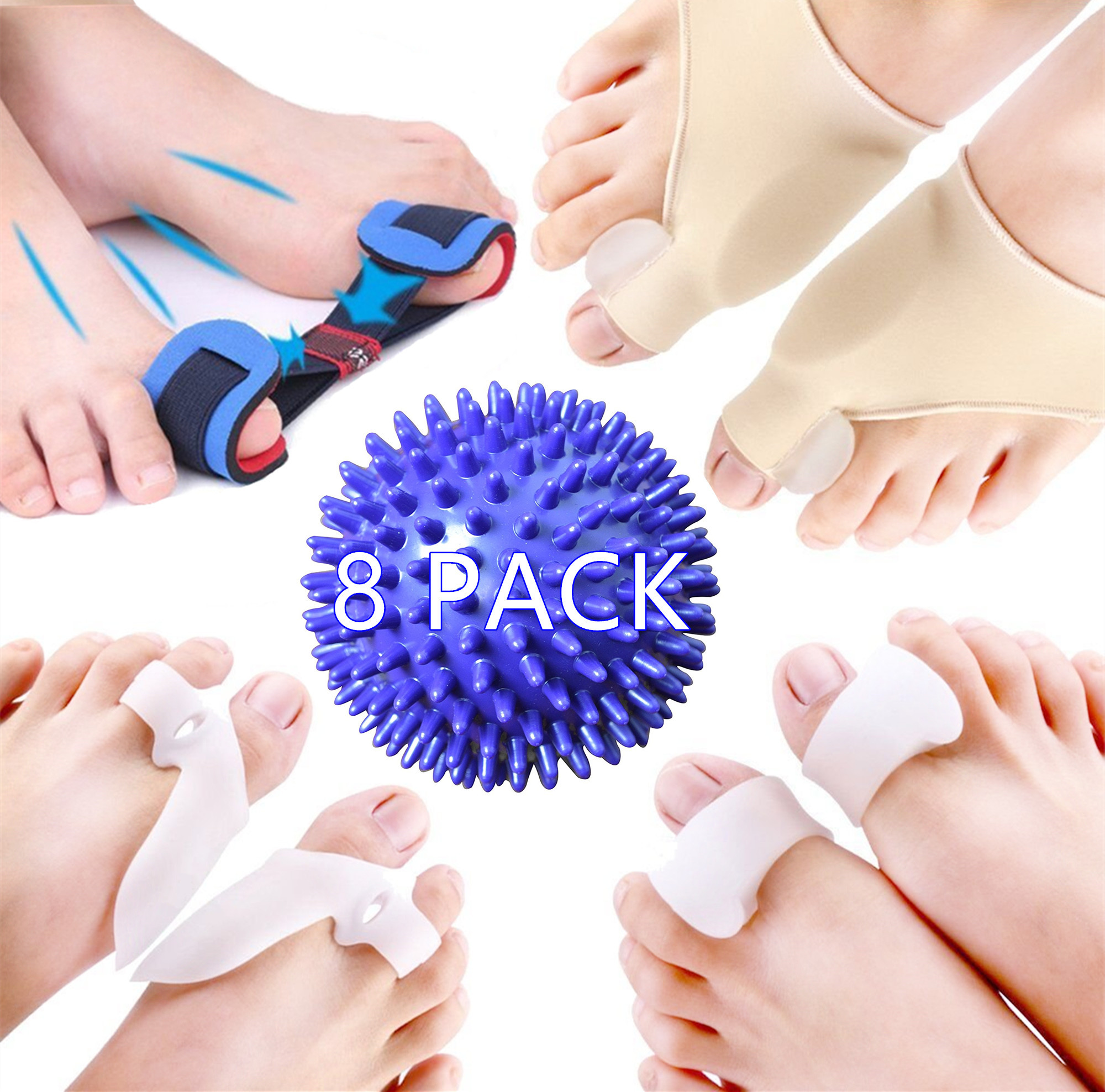 Bunion Corrector, Bunion Relief Protector Kit Spreader Bunion Relief Socks Sleeves Toe Stretcher & Separator, Foot Massage Ball for Tailors Bunion, Hallux Valgus, Overlapping Toes, Big Toe Joint
