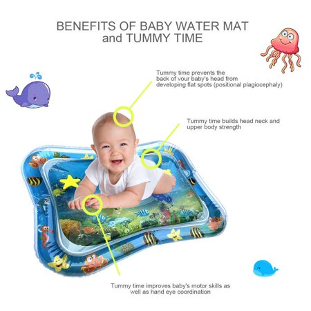 Inflatable Baby Water Mat, PVC Tummy Time Water Mat Fun Activity Play Center for Infants & Kids &Toddlers, Early Education Inflatable Patted Water Play Pad Cushion, 26 x 20'', Blue - image 5 of 8