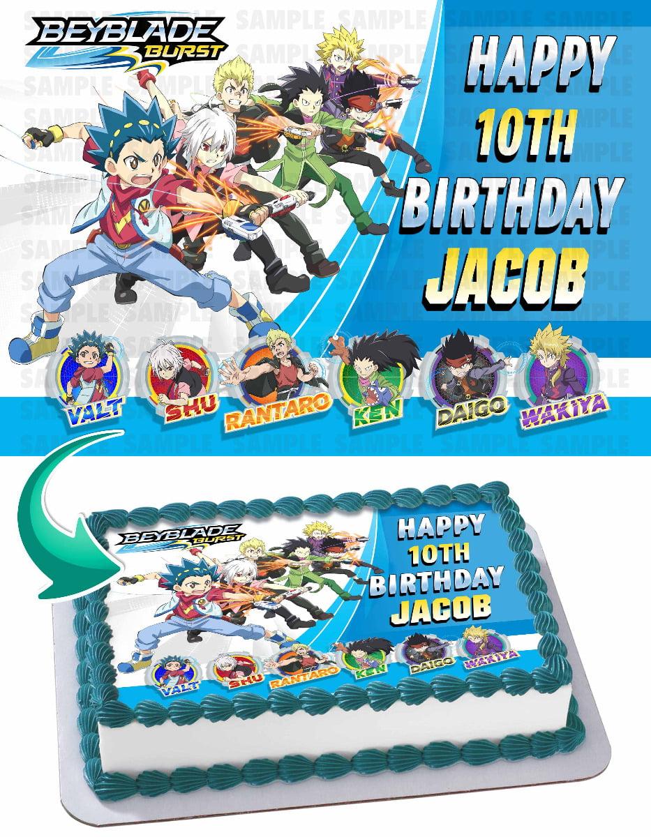 Awe Inspiring Home Kitchen Dining Beyblade Personalized Edible Birthday Cake Personalised Birthday Cards Fashionlily Jamesorg