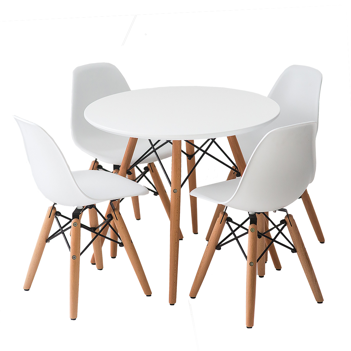 Buschman Set of White Eames Style Kids Dining Room Mid Century Wooden Legs Table and Four Armless Chairs