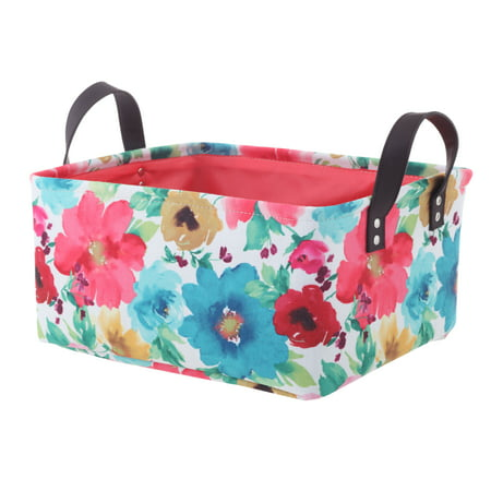 Pioneer Woman Medium Multicolored Floral Canvas Basket, Set of