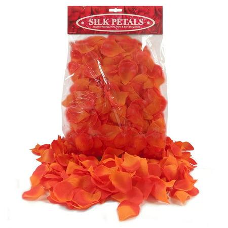 200 Reddish/Orange Premium Silk Flower Petals - Fake Flower Petals