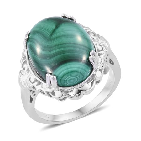 Solitaire Ring Oval Malachite Gift Jewelry for Women Size 8