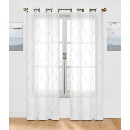 2 Pack: Regal Home Collections Contemporary Trellis Embroidered Sheer Voile Grommet Curtain Panels - White ()