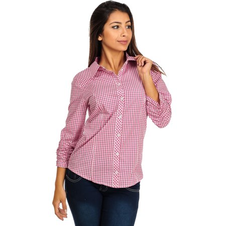 Womens Juniors Pink And White Casual Cotton Plaid Button