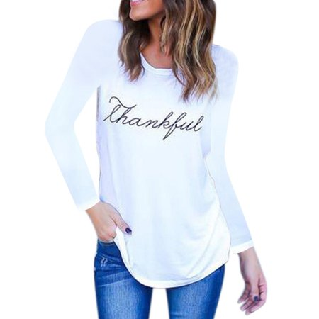 Womens Casual T-shirts 2019 English Letters Printed Long Sleeves Round Collar T-shirt (Style Round Collar Letter)