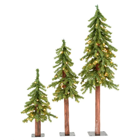 Vickerman Artificial Christmas Tree 2', 3', 4' Natural Triple Alpine Set of 3, 185 Clear Lights (Triple Tree Set)