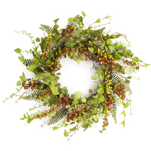 Charlton Home Mixed Berry and Foliage 22'' Wreath
