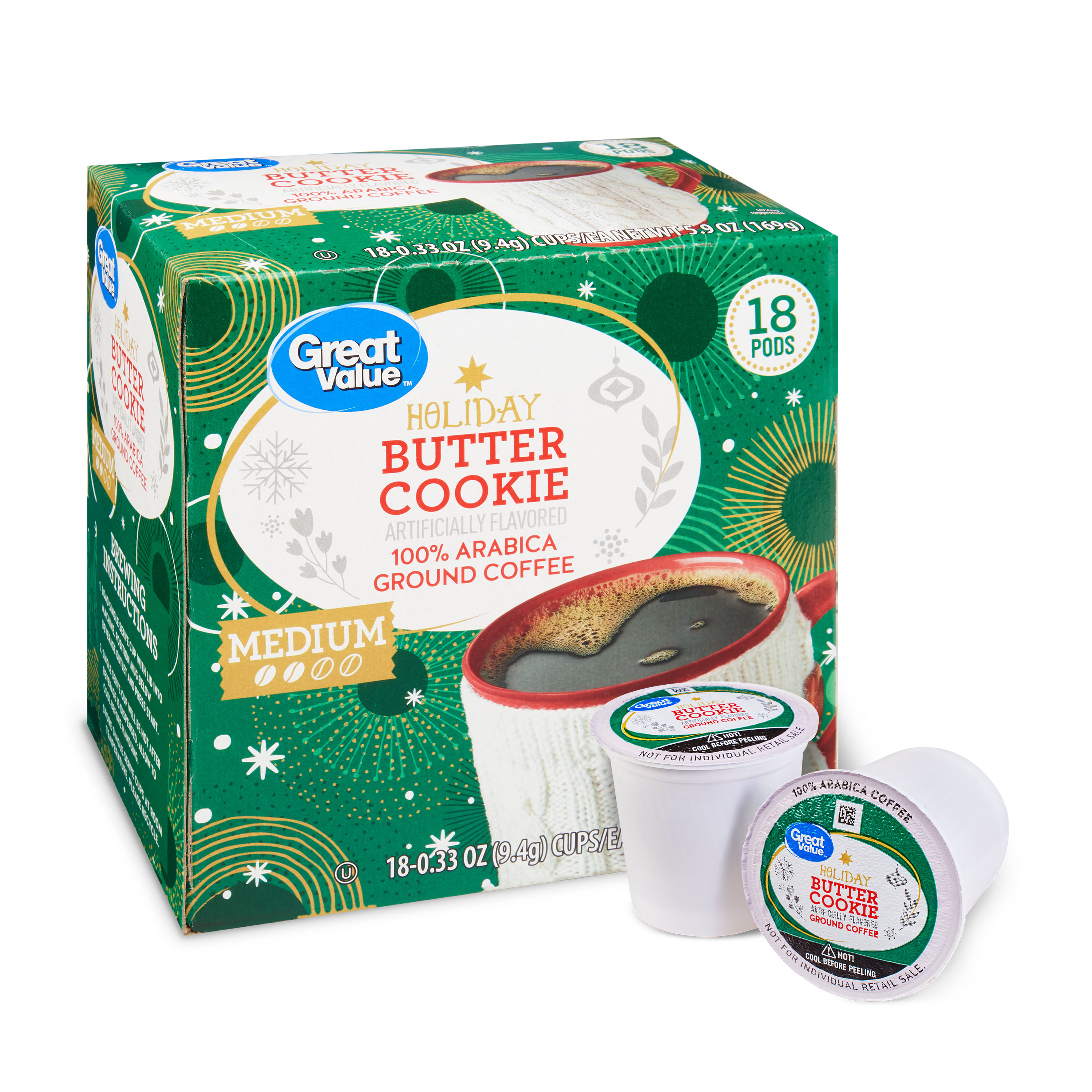 Great Value Butter Cookie 18ct Coffee