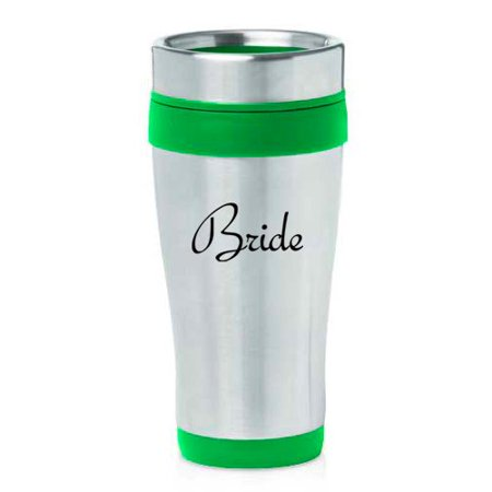 16 oz Insulated Stainless Steel Travel Mug Bride Bachelorette Wedding (Green) - Bachelorette Gear