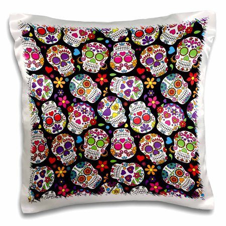 3dRose Colorful Tossed Sugar Skulls Pattern - Pillow Case, 16 by 16-inch (Colorful Sugar Skull)