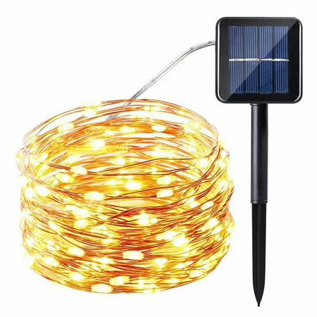 1Pcs 8 Modes Solar String Lights 100 Led IP65 Waterproof Flexible Copper Wire Sensor Control Decorative Light for Garden, Lawn, Pergola, Backyard, Gazebo, Porch, Holiday Decorations