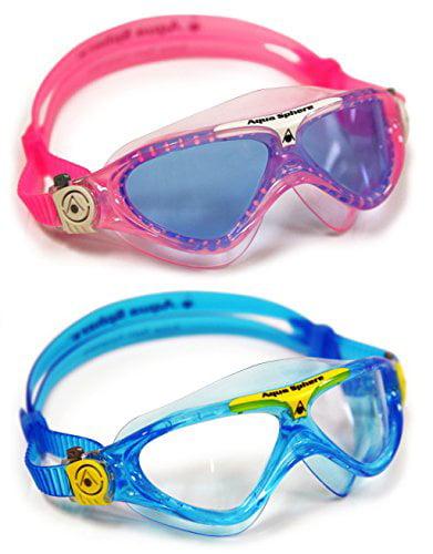 Aqua Sphere Vista Junior 2 Pack Swim Goggles, Pink and White with Blue Lens, by Aqua Sphere
