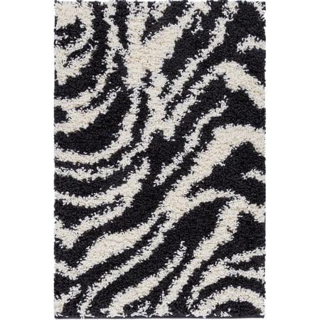 Well Woven Madison Shag Safari Zebra Black Area Rug