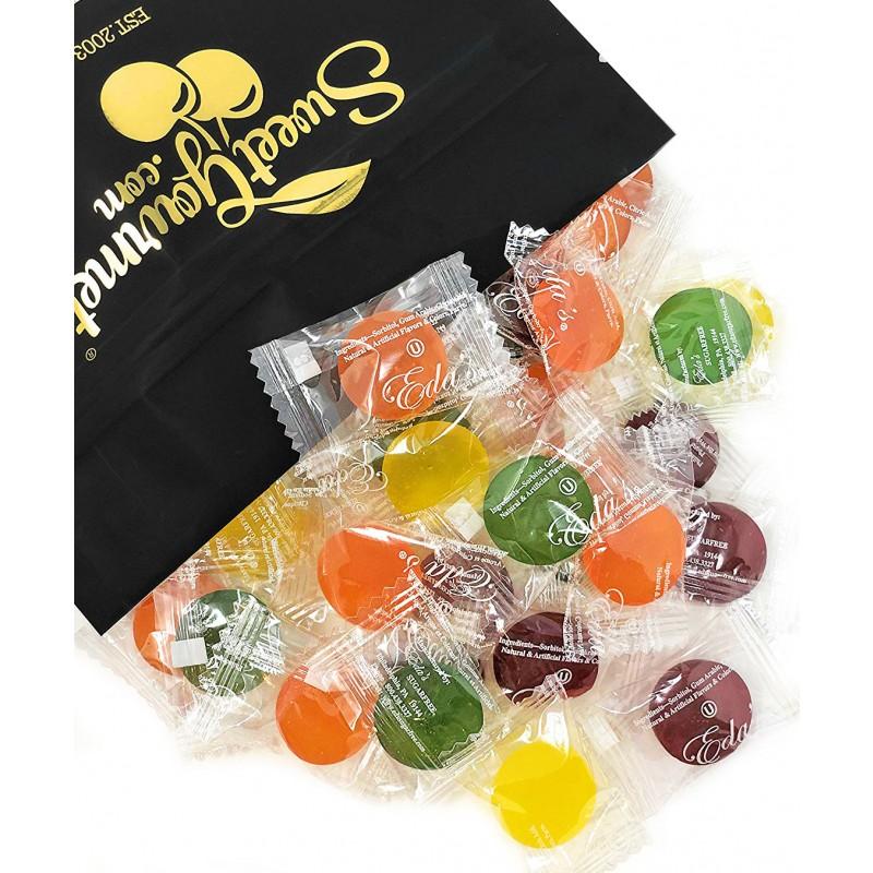 Eda's Sugar Free Sour Mix Hard Candy - Sour Cherry, Sour Orange, Sour Green Apple, Sour Lemon - Kosher, Sorbitol, Low Sodium, No Aftertaste 15oz