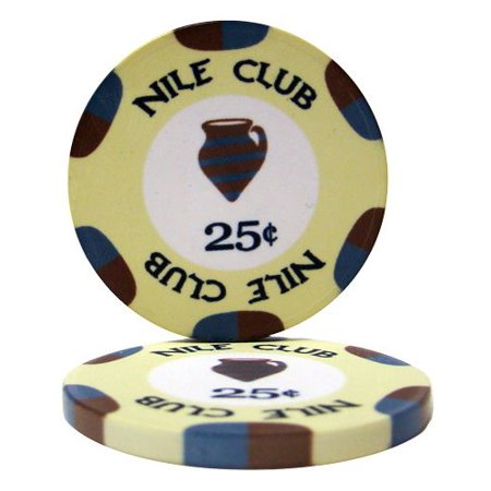 25 Nile Club .25¢ (cent) Poker Chips, $.25 Nile Club Casino Quality Ceramic Poker Chip By Brybelly