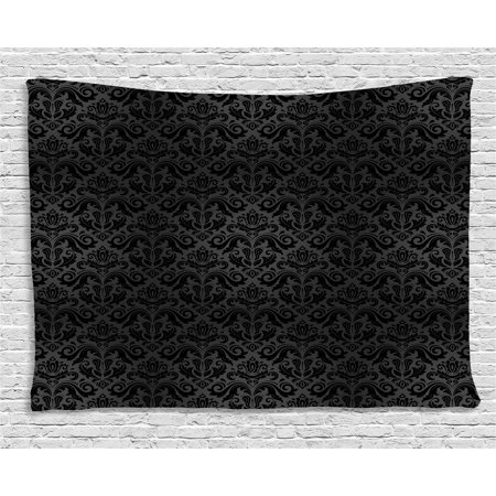 - Dark Grey Tapestry, Black Damask Arabesque and Floral Elements Oriental Antique Ornament Vintage, Wall Hanging for Bedroom Living Room Dorm Decor, 80W X 60L Inches, Black Grey, by Ambesonne