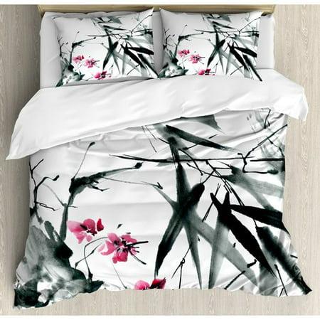Ambesonne Traditional House Natural Sacred Bamboo Stems Cherry Blossom Folk Art Print Duvet Cover Set